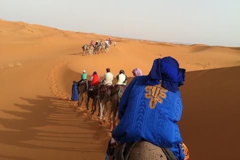 Morocco, Riding a Camel in the Desert