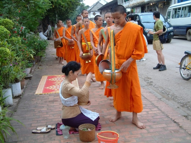 Monks collect Alms in Luang Prabang
