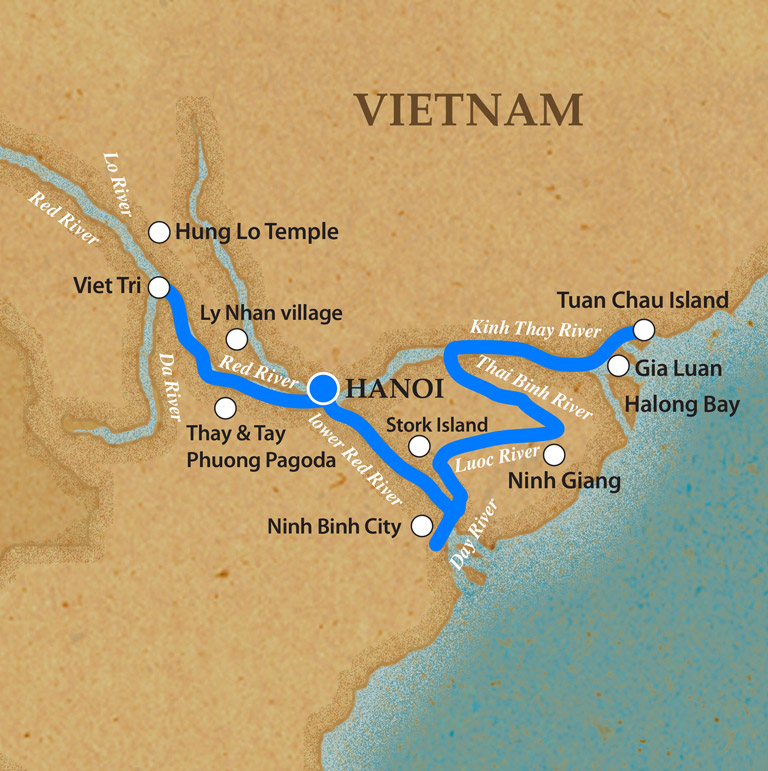 Halong Bay & Red River DEC-MAR - Itinerary & Map