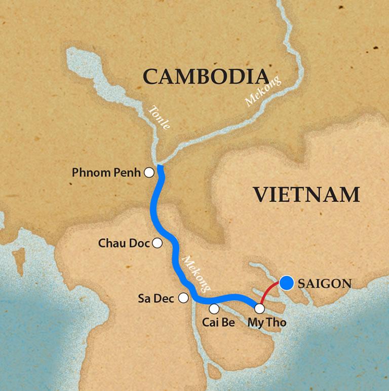 Saigon & Phnom Penh - Itinerary & Map