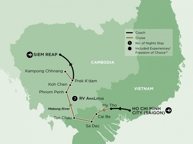 Luxury Mekong River Cuise - Itinerary & Map