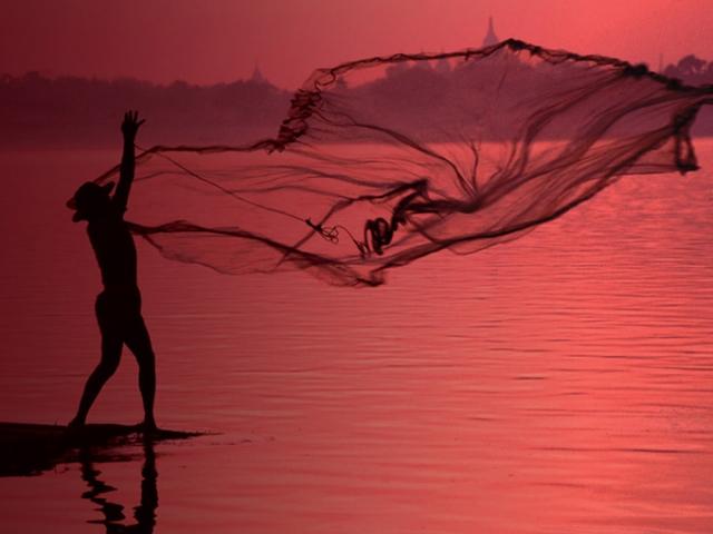 Net Fishing River Scene - Mawlaik