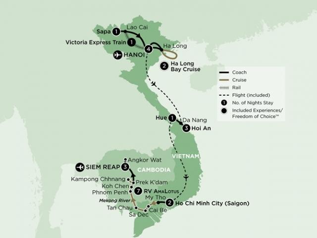 Vietnam and Cambodia Grand Tour - Itinerary & Map