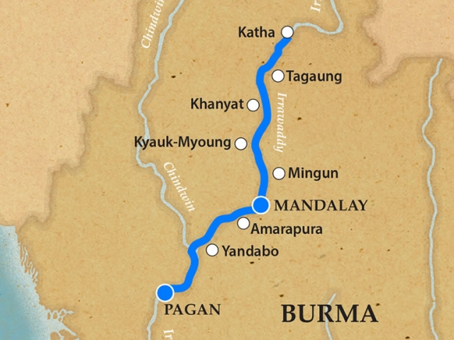Bagan And The Upper Irrawaddy Itinerary and Map
