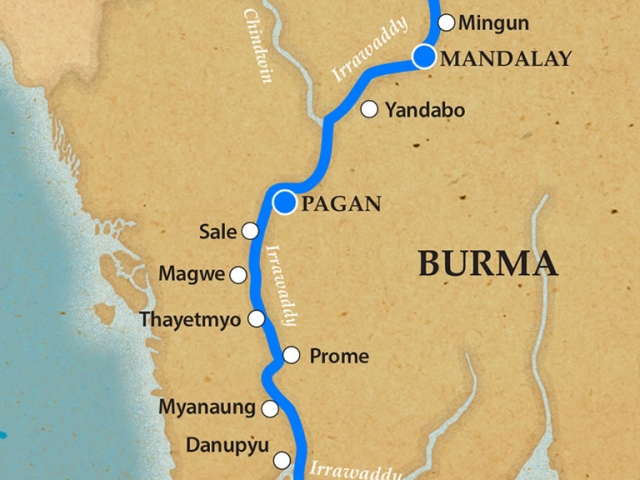 The Irrawaddy - Itinerary and Map