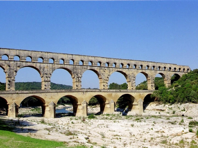 France, Avignon, The Pont du Gard Aqueduct