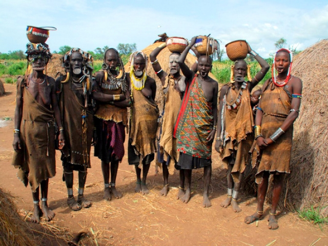 Tribes of Omo Valley, Mago National Park, Mursi village