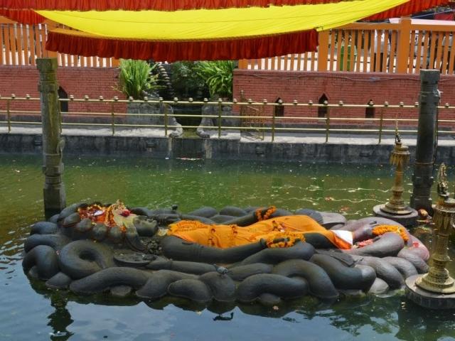 Nepal, Budhanilkantha, Statue of Lord Vishnu