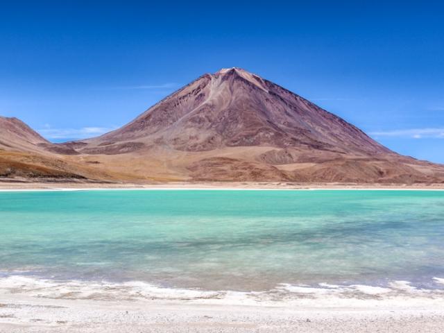 Uyuni Salt Flat & Coloured Lagoons | Green Lagoon & Licancahur Volcano, Bolivia
