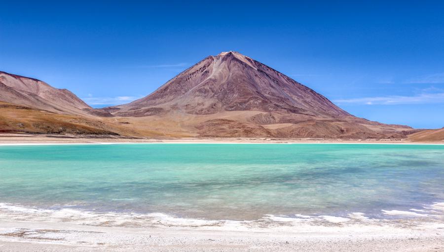 Bolivia, Green Lagoon & Licancahur Volcano