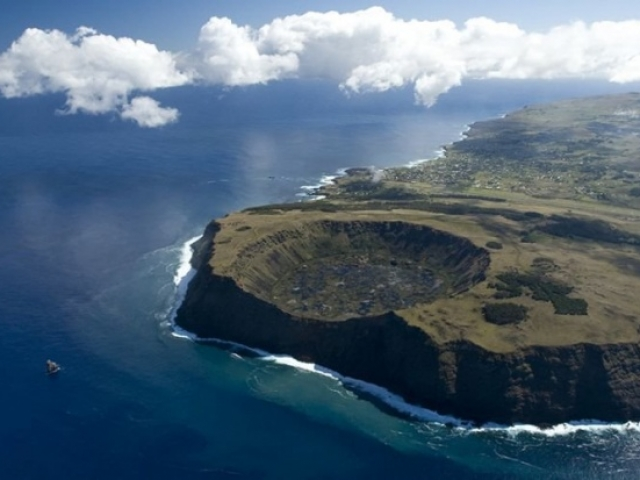 Chile, Easter Island. Rano Kau Volcano Crater