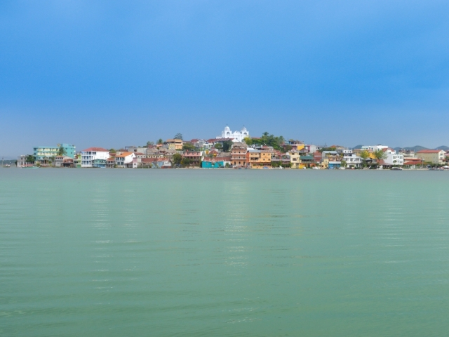 Taste of Guatemala, Flores seen from the boat on the lake Peten Itza