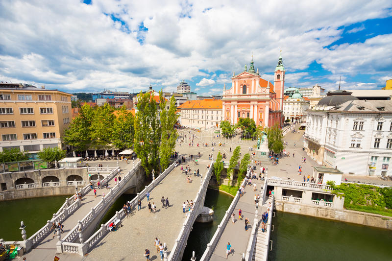 Eastern Capitals & The Dalmatian Riviera, Franciscan Church of the Annunciation & the Triple Bridge, Ljubljana, Slovenia