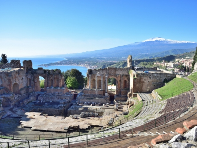 Sicily in Depth, Ruins of the Greek Theater of Taormina, Sicily, Italy