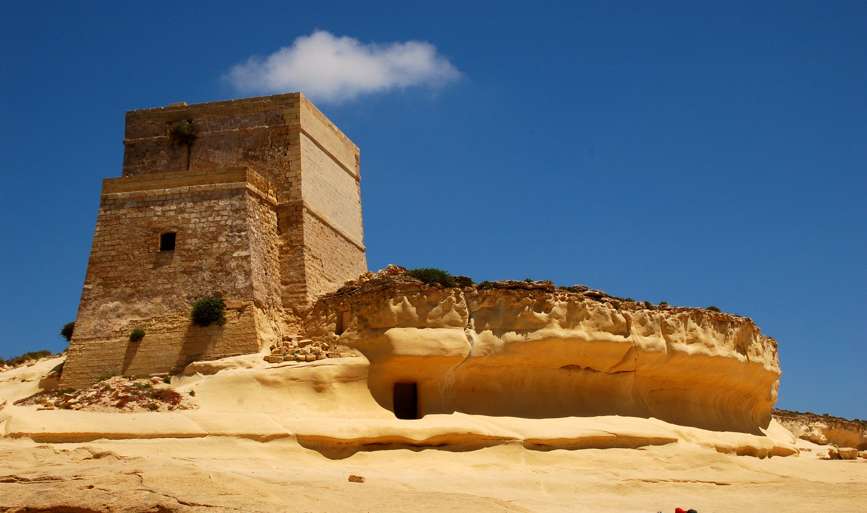 Fortress at Yellow Sandstone at Xlendi, Gozo Island, Malta