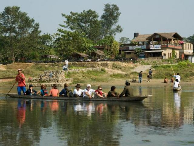 Vintage Nepal - Canoe at Chitwan National Park, Nepal