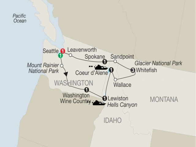 Discover Glacier National Park, Hells Canyon & Washington Wine Country